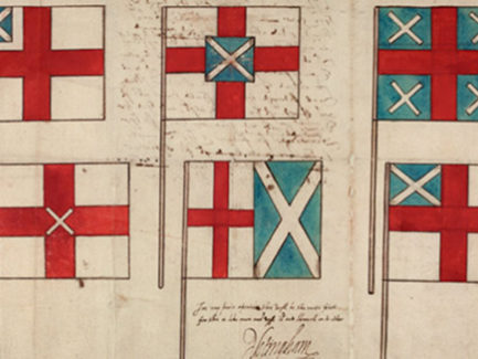 What did Shakespeare think of James I's new flag for England and Scotland?
